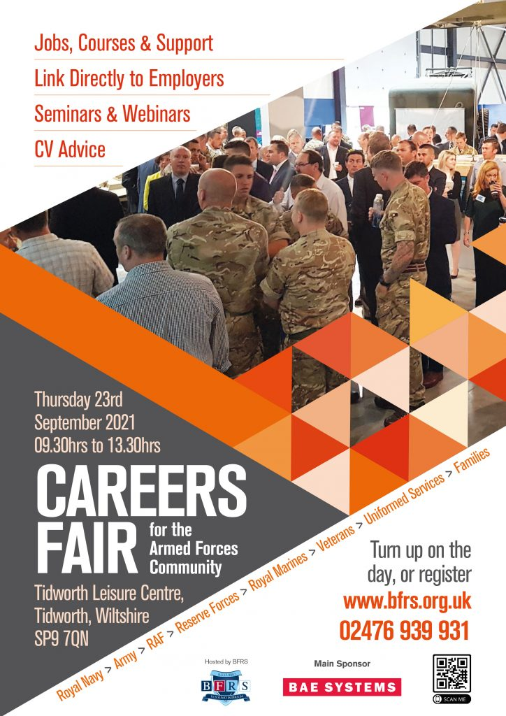 A grey, orange and white poster that has a photograph of a group of service leavers and uniformed officers talking to each other. They are at a previous careers fair. The information on the poster can be found within the main article.